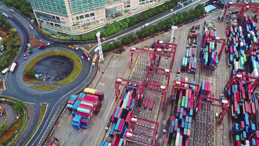 Blurred all visible brand marks. Aerial view of huge industrial port with containers and huge ship. | Shutterstock HD Video #24332291