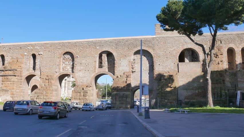 Aurelian Walls Via Eleniana Rome, Italy - February 23, 2015: built around ancient Rome under Emperor Aurelian in 271-275 years.