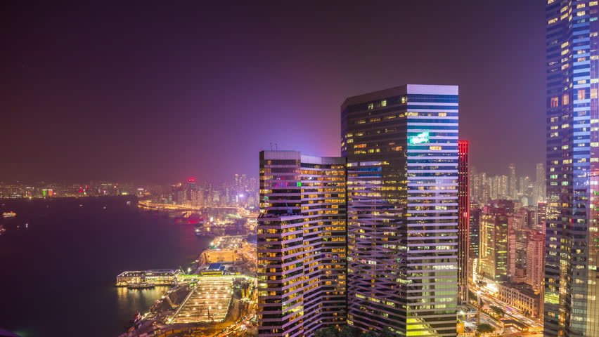 Night light hong kong city famous bay rooftop panorama 4k time lapse china | Shutterstock HD Video #24362411