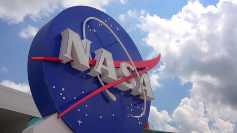 CAPE CANAVERAL, FLORIDA - JUNE 14th: NASA emblem at the Kennedy Space Center Visitor Complex in Cape Canaveral, Florida on June 14th, 2016.