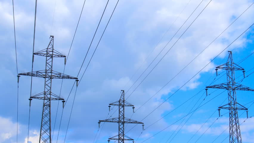 Electric poles against the blue sky | Shutterstock HD Video #24414641