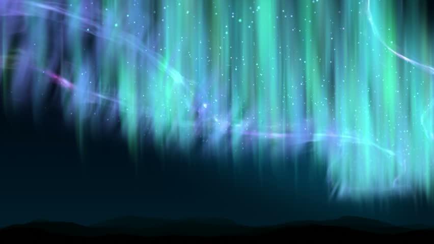 Aurora shine over the hills