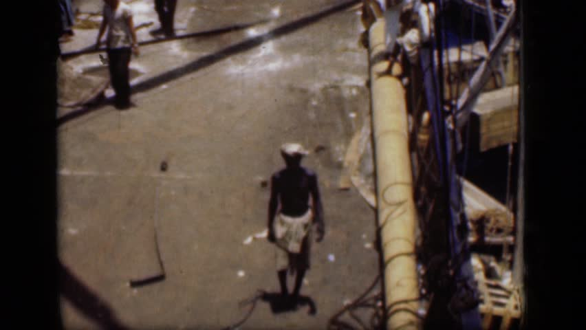 SUEZ CANAL EGYPT 1946: the scene in boat about workers working in that   Shutterstock HD Video #24444761
