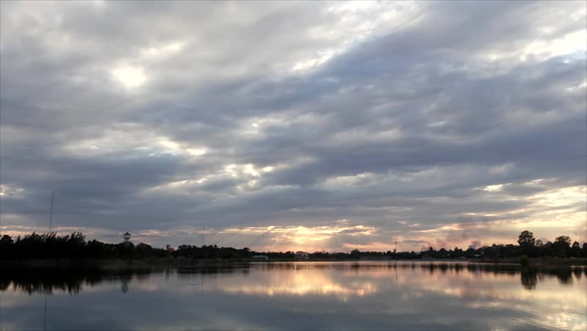 Time laps Sunset Sky and clouds time twilight at the edge of a lake. Dramatic sunset clouds after sunset with horizon countryside. Time laps in in zoom out mode.  | Shutterstock HD Video #24449438