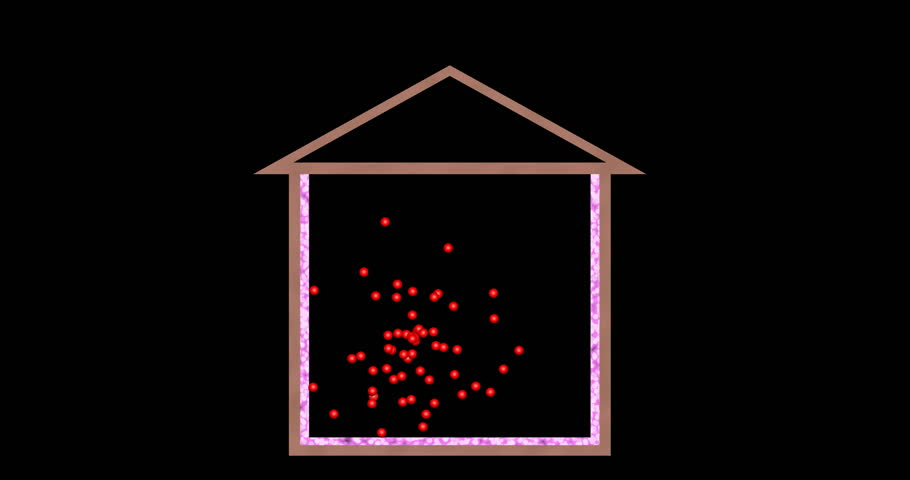 Heat loss through roof of house. 3d animation