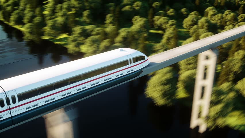 Futuristic, modern train passing on mono rail. Ecological future concept. Aerial nature view. photorealistic 4K animation. | Shutterstock HD Video #24455861