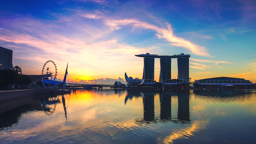 Time lapse sunrise at Singapore city Silhouettes