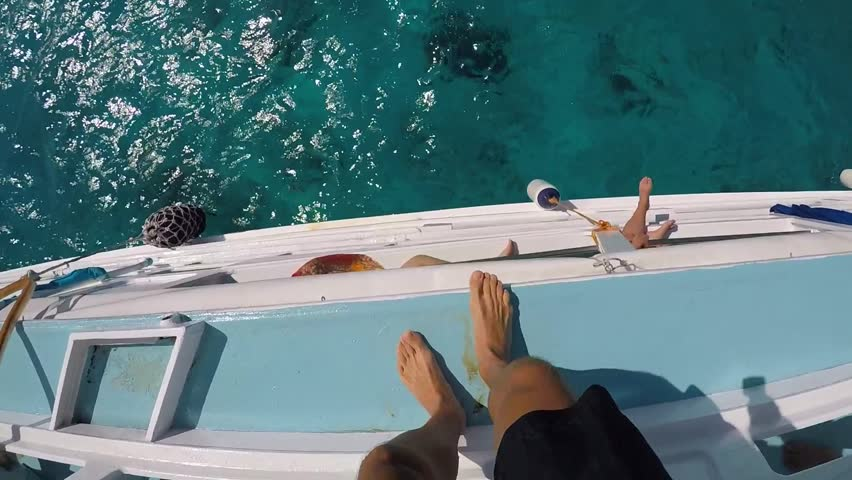 First Person View Extreme Jumping in Water from Boat. GoPro HD pov Slow Motion. Thailand.