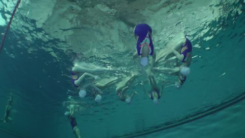 Synchronized swimming, team training, pause, underwater.