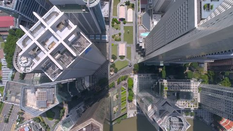 Singapore Raffles Place from above Aerial Roof