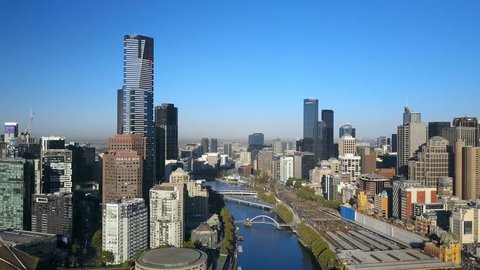 Melbourne, Australia - March 1, 2017: 4k aerial video of flying toward Melbourne CBD