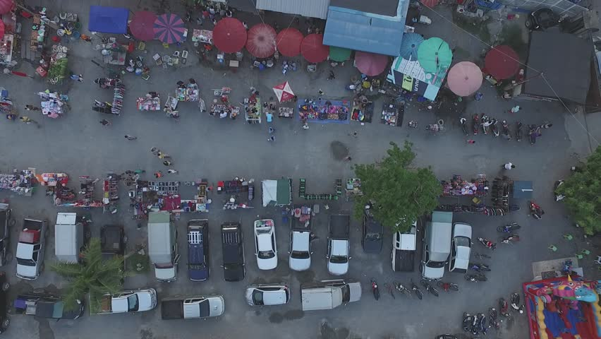 Thailand  Rural market,  aerial photography, red umbrella, people, life, #24579881