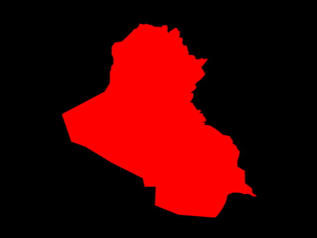 Computer-generated animation of burning flames behind a map of Iraq