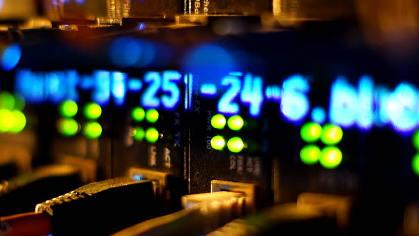 Fully loaded network media converters and ethernet switches.    Shutterstock HD Video #2465498