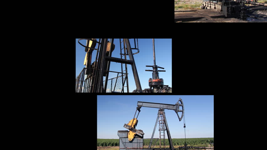 Oil Pump Jack in a field, montage split screen