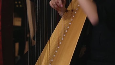 Harp strings close up hands. Harpist with Music Instrument Closeup of harp player