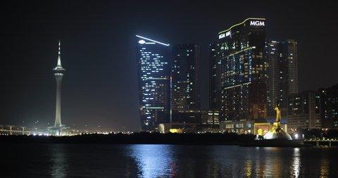 Macau 2013 - 4K video of the stunning Macau Tower and Casino skyline at night