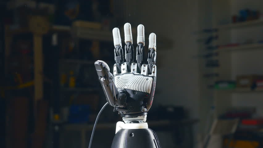 Bionic arm printed on 3D printer. Futuristic technology.
