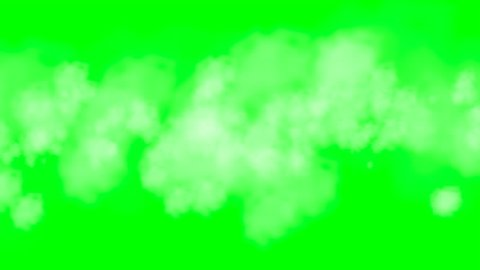 Travel through clouds or smoke which is growing over time. On a green screen background for a transparent overlay.