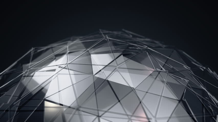 Abstract background with animation of waving smooth polygonal surface on sphere from glass, chrome or plastic. Good technological backdrop. Animation of seamless loop.