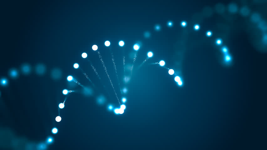 3D rendered loopable animation of rotating DNA glowing molecule on blue background. Genetics concept. #24707261