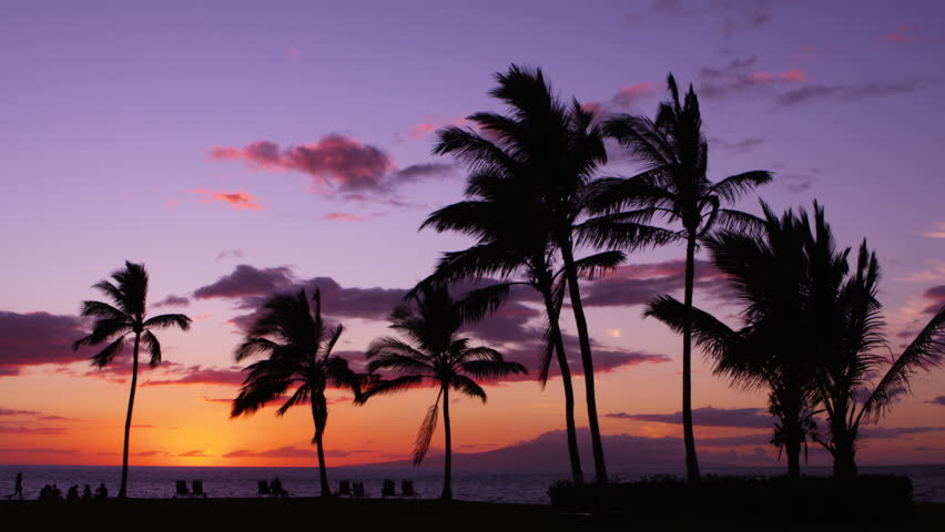 Relaxing Tropical Island Beach after Sunset, Maui Hawaii