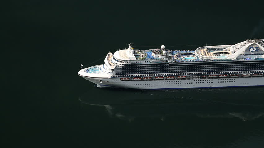 GEIRANGER, NORWAY - JUNE 22: Cruise ship Caribbean Princess approaching the