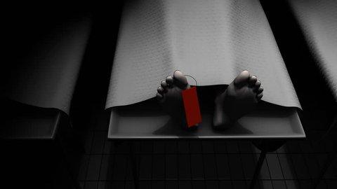 Dead body in corpse room, morgue, mortuary.
