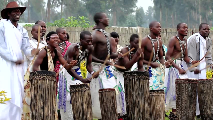 RWANDA, AFRICA - JUNE 16: Male Tribal Dancers Perform Traditional Intore Dance (traditional Ballet of Rwanda) on June 16, 20012 in Rwanda, Africa. Drumming, Song, and Music is featured as well.