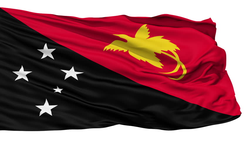 Animation of the full fluttering national flag of Papua New Guinea isolated on white