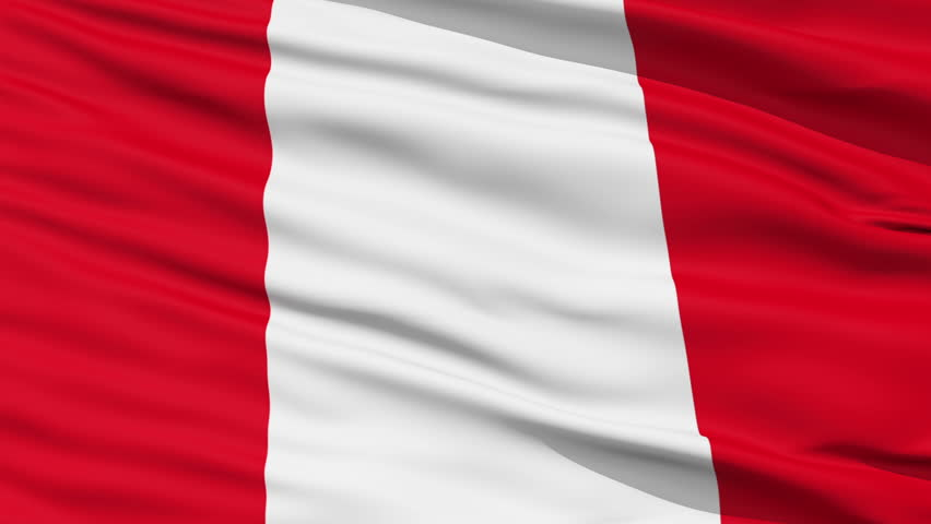 Closeup cropped view of a fluttering national flag of Peru