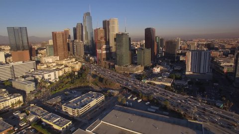 Los Angeles Downtown mid-after City aerial