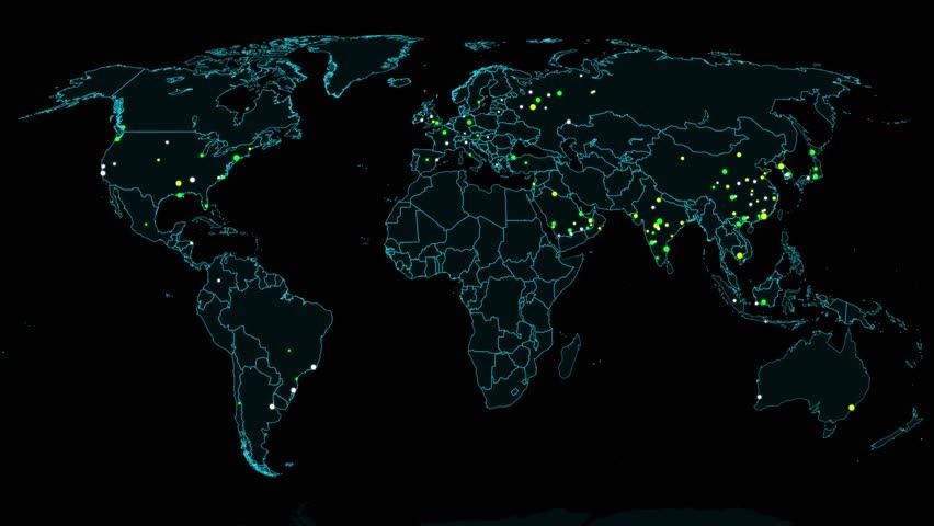 The World Map HUD Design - Technology Background Stock ...