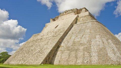 Time-lapse of the mayan ruins. Pyramid of the Magician in Uxmal , ancient Maya city. Yucatan, Mexico