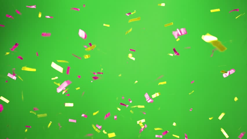 Real Confetti falling  soft and beautiful in the colors yellow and pink with  Green screen for party and celebrations | Shutterstock HD Video #24916817