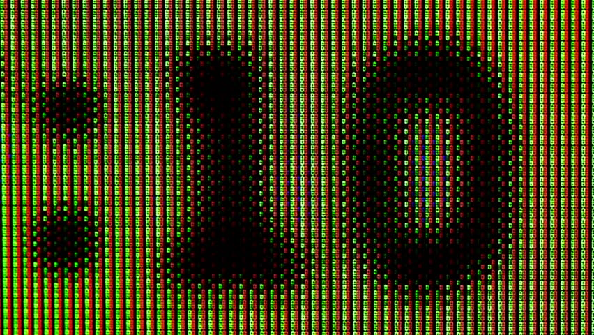Countdown Clock From Ten to Zero on Yellow Abstract  Background .  Macro Video : Blurred Image from Bad Television Screen