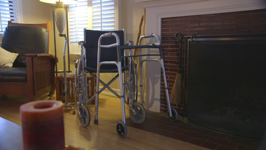 Walker and wheelchair in living room | Shutterstock HD Video #2493371