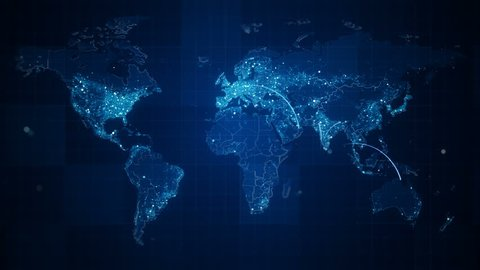 Connection Blue World Map Loop. This animated World map with visual effects and flying glowing connections in different places on the map.Perfect for slideshows, presentation, trailers and etc.