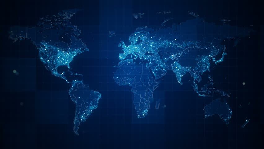 Global Blue World Map Loop. This animated World map with visual effects and glowing connections in different places on the map. Perfect for slideshows, presentation, trailers, sci-fi openers and etc. | Shutterstock HD Video #24964700