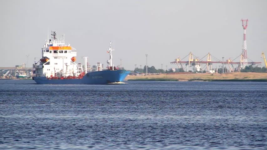 Oil tanker on the Daugava river,at the Riga harbor, in Riga, Latvia.