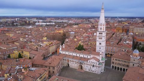 modena aerial view over city center flying backwards revealing shot