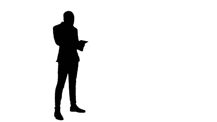 Silhouette Portrait Of A Smiling Businessman Talking On