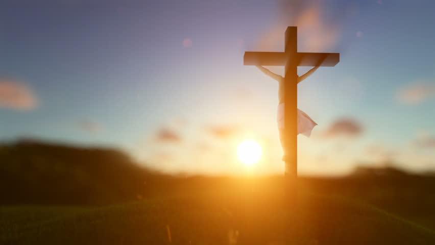 Стоковое видео silhouette of jesus with cross абсолютно без