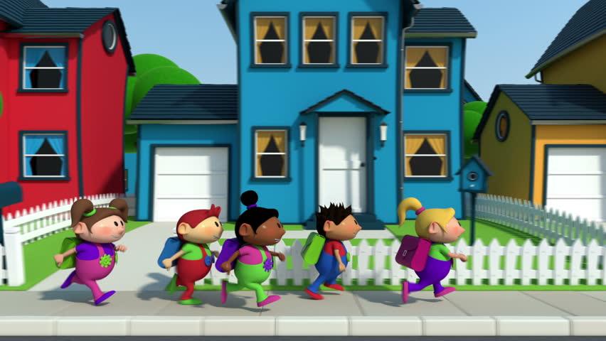 cute cartoon children running along a suburban street - high quality 3d animation - loopable