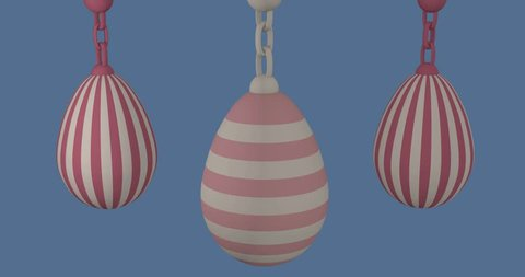 Animated Easter eggs in pastel tones on blue background