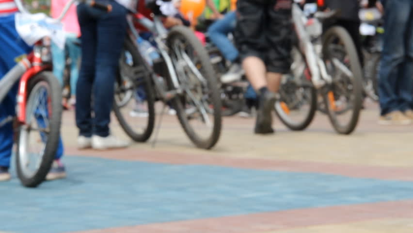 Bike festival. Many cyclists at one square. Crowd in sportswear. Blurred background | Shutterstock HD Video #25073435