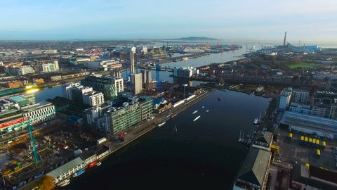 aerial view of city center of Dublin