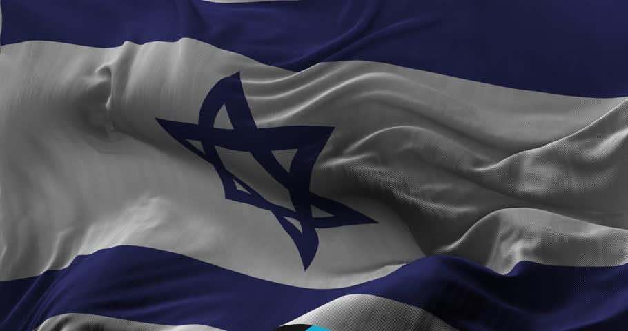 National Flag of  Israel waving in the wind. slow motion, Seamless Loop Animation