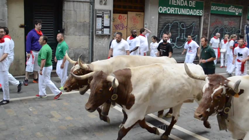 PAMPLONA, SPAIN - JULY 2016. People in the Running of the Bulls during San Fermin Festival in famous Estafeta St of Pamplona, July 2016