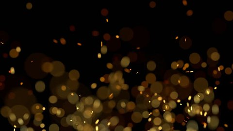 Defocused flame embers floating around on black background. looping animation